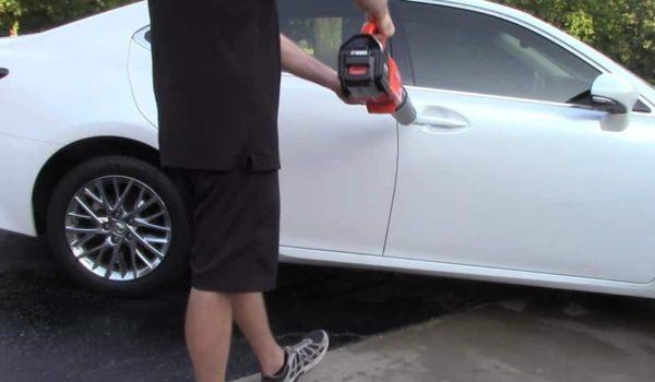 dry car with leaf blower