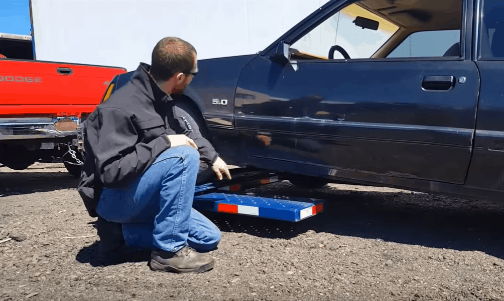 Drive the Towed Car into the Tow Dolly