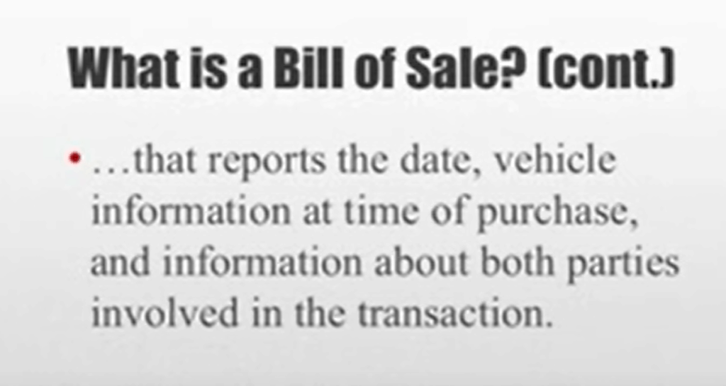 Bill Of Sale What It Is