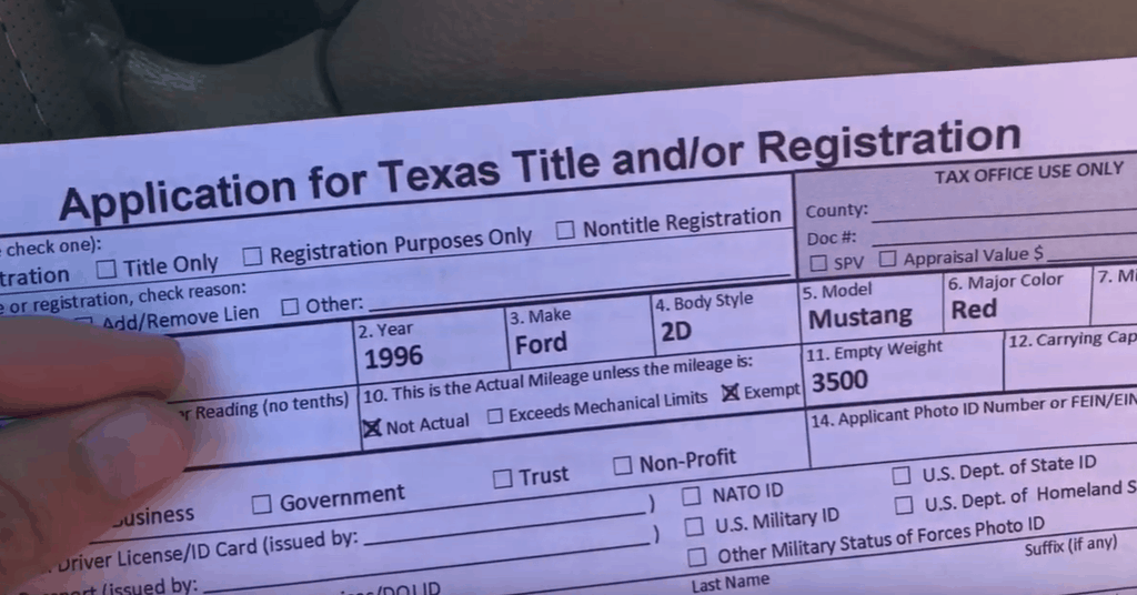 Complete the Texas Title Certificate Application Form
