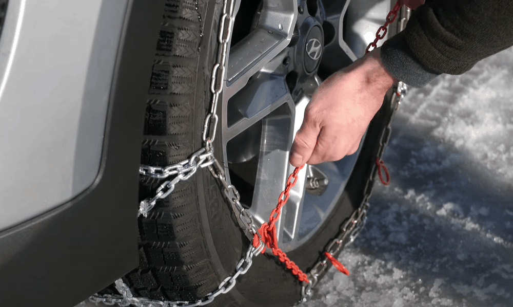 Drive 30m and retighten the chains