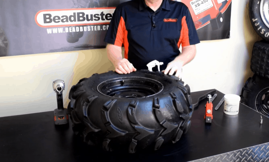 Place tire on a flat surface